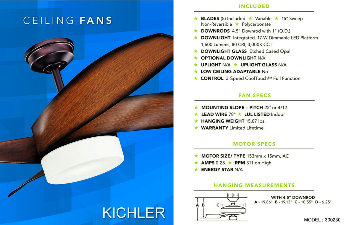 Kichler Terna 15 Quot Brushed Nickel Ceiling Fan With Led