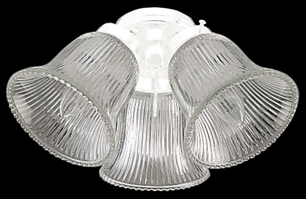 Craftmade Three-Light Light Kit with Bell Shaped Clear Ribbed Glass - White (ECK306WW)