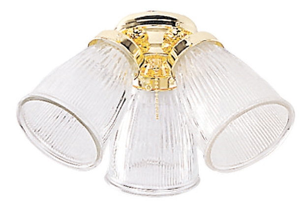 Craftmade Three-Light Light Kit with Cone Shaped Clear Ribbed Glass - White (ECK757WW)
