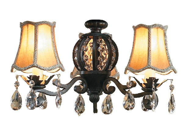 Craftmade Universal Three-Light Light Kit with Bell Shaped Antique Silk Shade - Antique White Distressed (ECK898AWD)