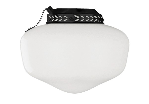 Craftmade Universal Outdoor Wet Schoolhouse Light Kit with Cased White Glass - Matte Black (ELK1MBK-W)