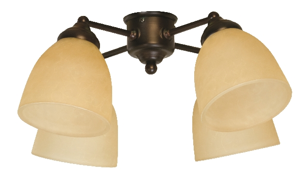 Craftmade Universal LED Four-Light Light Kit with Bell Shaped Tea Stain Glass - Aged Bronze Textured (LK400-AG-LED)