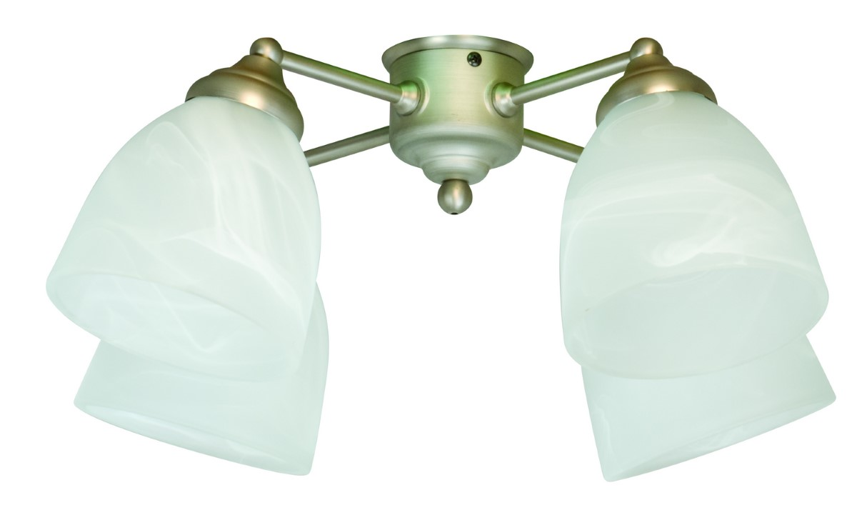 Craftmade Universal LED Four-Light Light Kit with Bell Shaped Alabaster Glass - Brushed Satin Nickel (LK401-BN-LED)