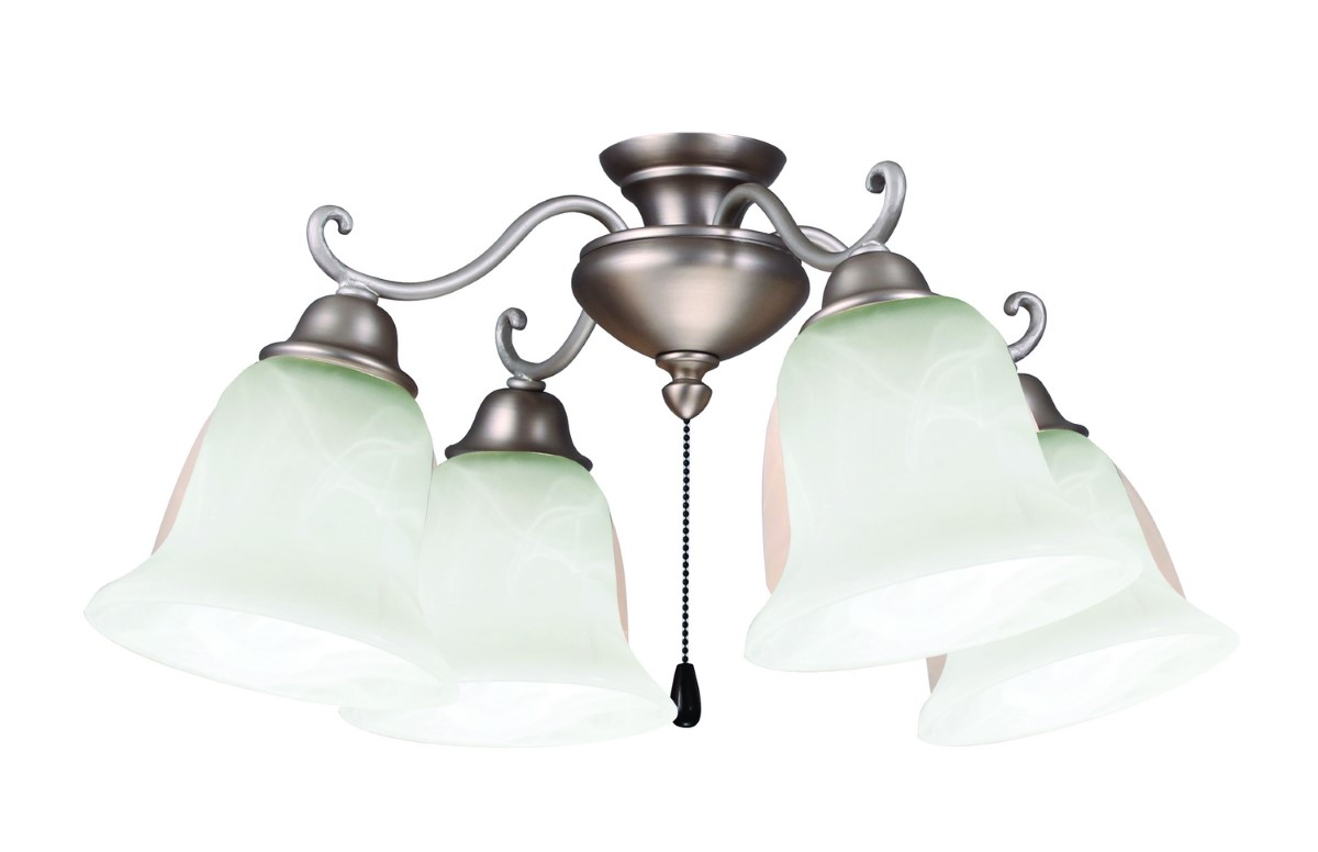 Craftmade Universal LED Four-Light Light Kit with Bell Shaped Alabaster Glass - Brushed Satin Nickel (LK406-BN-LED)