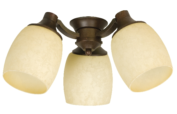 Craftmade Universal LED Three-Light Light Kit with Bell Shaped Antique Scavo Glass - Aged Bronze Textured (LK47-AG-LED)