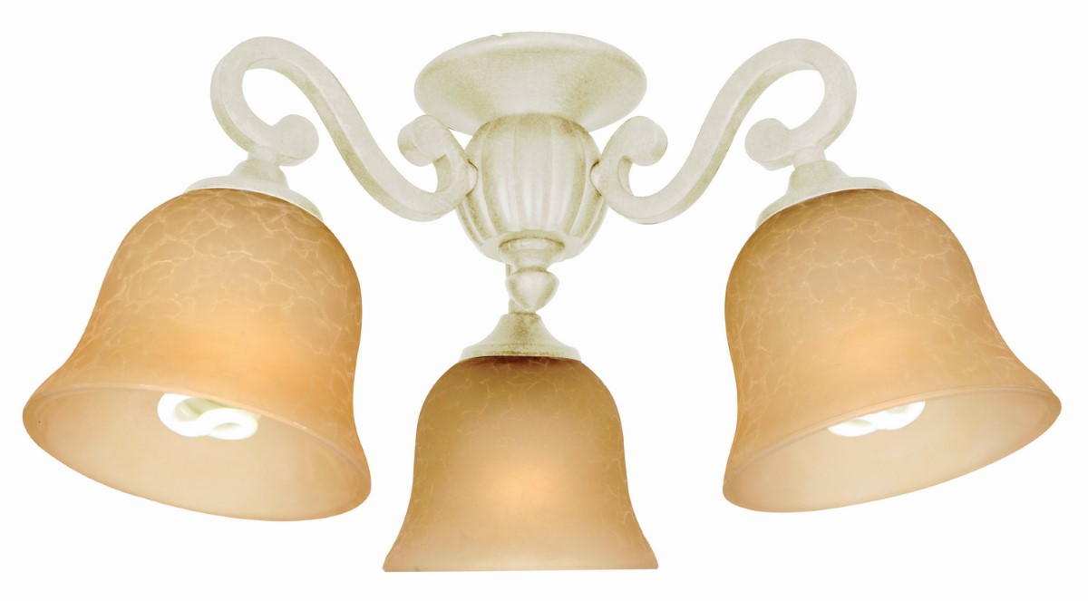 Craftmade Universal LED Light Kit with Bell Shaped Amber Frost Glass - Antique White Distressed (LK49-AWD-LED)