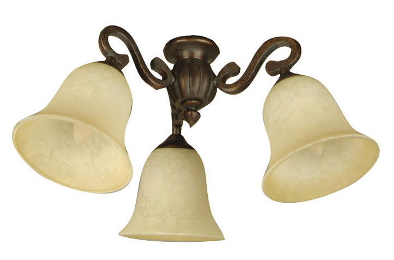 Craftmade Universal LED Three-Light Light Kit with Bell Shaped Amber Frost Glass - Peruvian Bronze (LK50-PR-LED)
