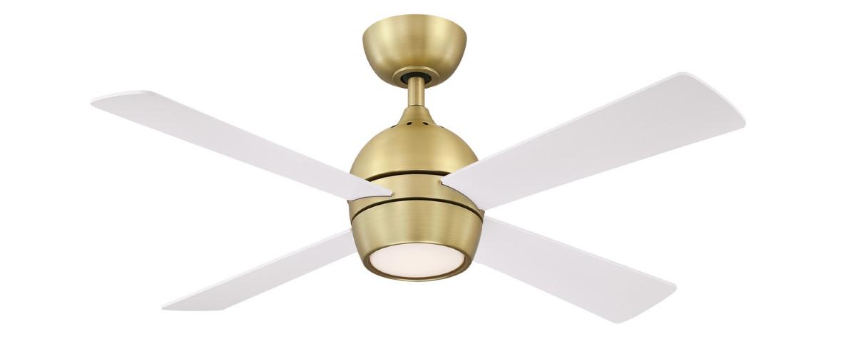 Fanimation Kwad 44 Sat Brass Ceiling Fan White