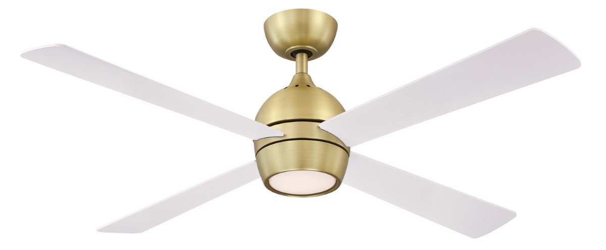 Fanimation Kwad 52 Sat Brass Ceiling Fan White