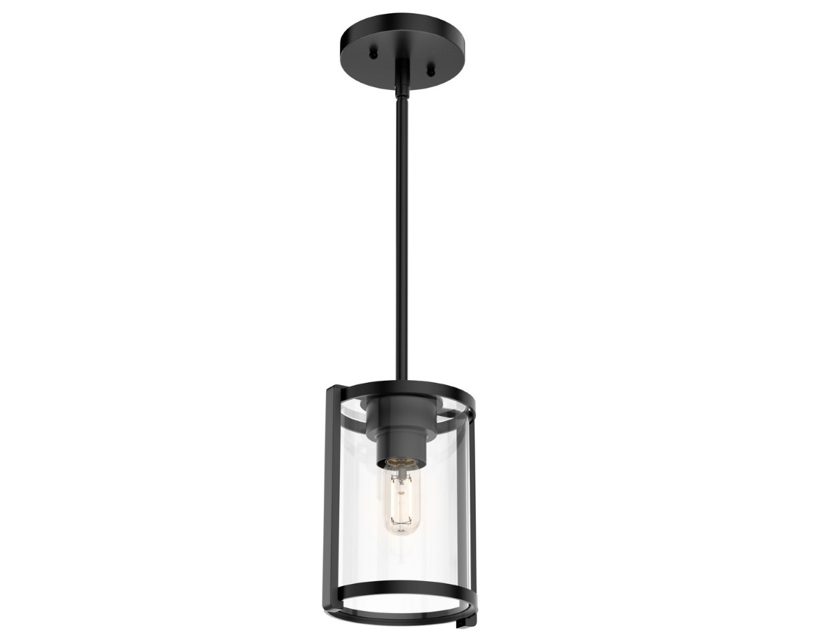 Hunter Astwood Pendant Light with Clear Shade - Matte Black (19005)