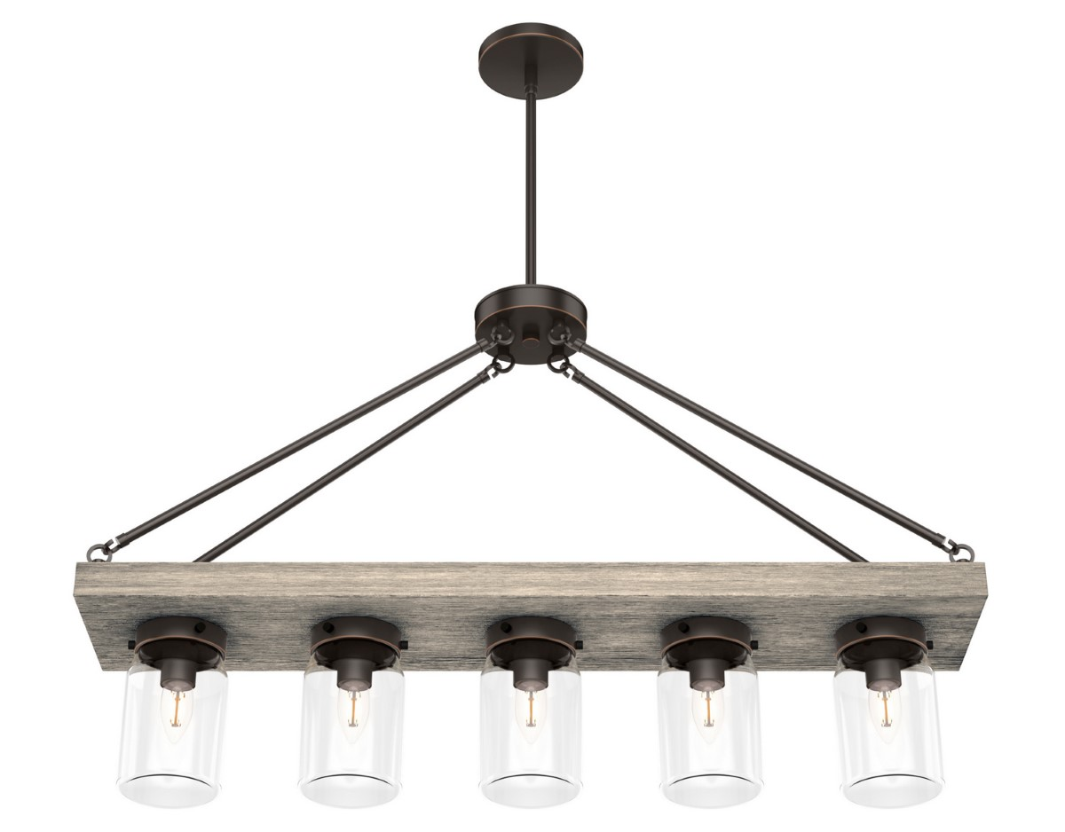 Hunter Devon Park Chandelier with Clear Shade - Onyx Bengal (19006)