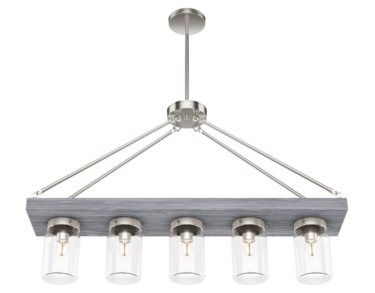 Hunter Devon Park Chandelier with Clear Shade - Brushed Nickel (19007)