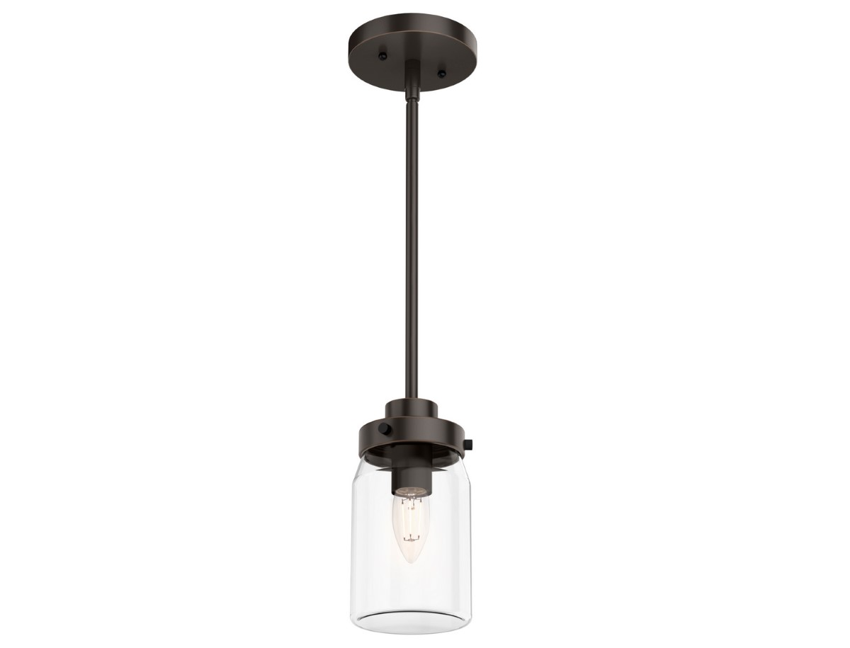 Hunter Devon Park Pendant Light with Clear Shade - Onyx Bengal (19008)