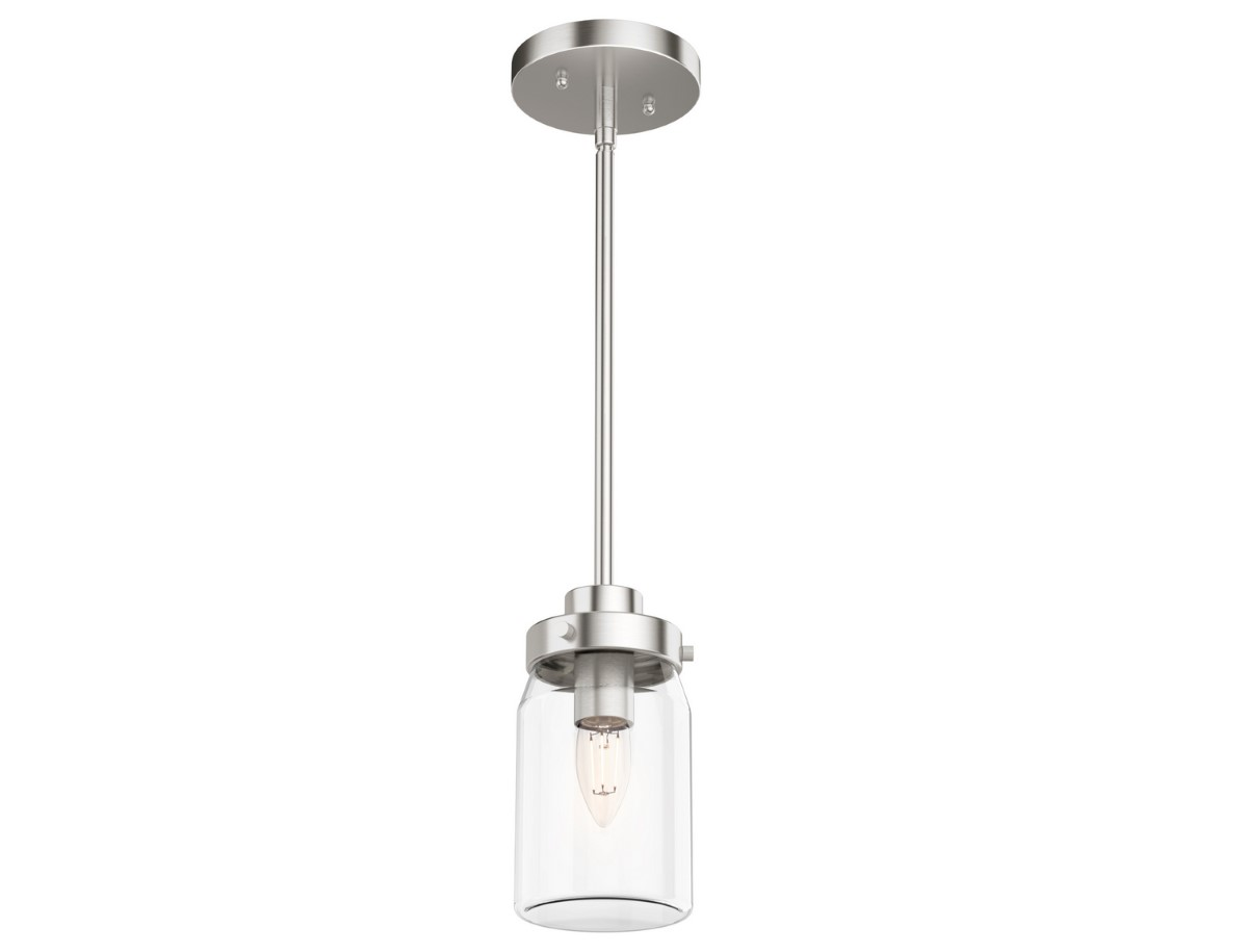 Hunter Devon Park Pendant Light with Clear Shade - Brushed Nickel (19009)