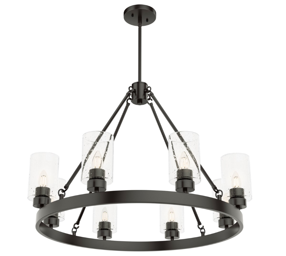 Hunter Hartland Chandelier with Seeded Shade - Noble Bronze (19011)