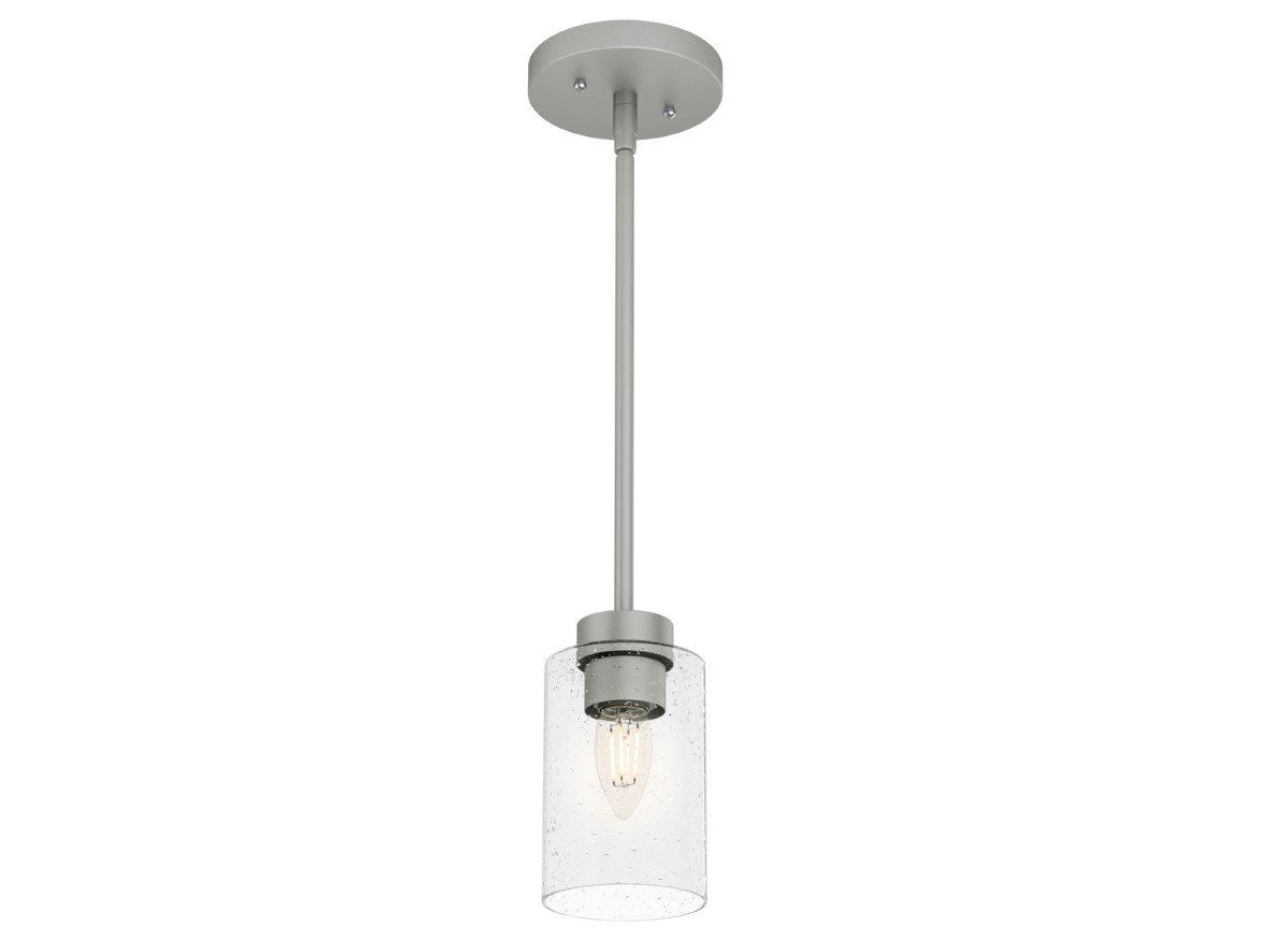 Hunter Hartland Pendant Light with Seeded Shade - Matte Silver (19012)