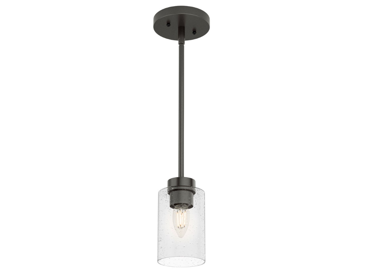 Hunter Hartland Pendant Light with Seeded Shade - Noble Bronze (19013)