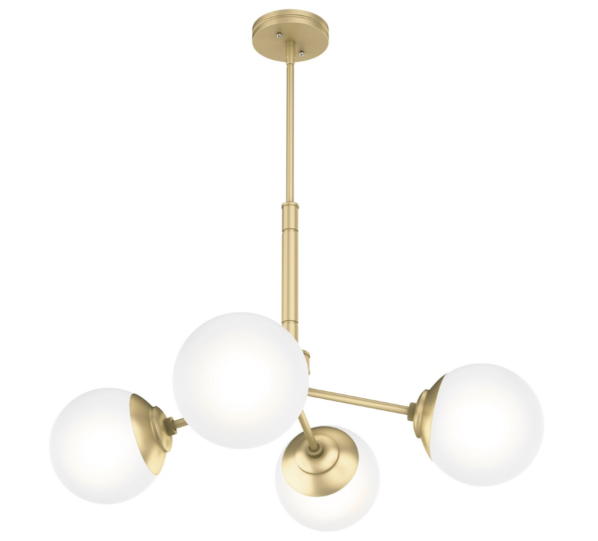 Hunter Hepburn Chandelier with White Glass Shade - Painted Modern Brass (19016)