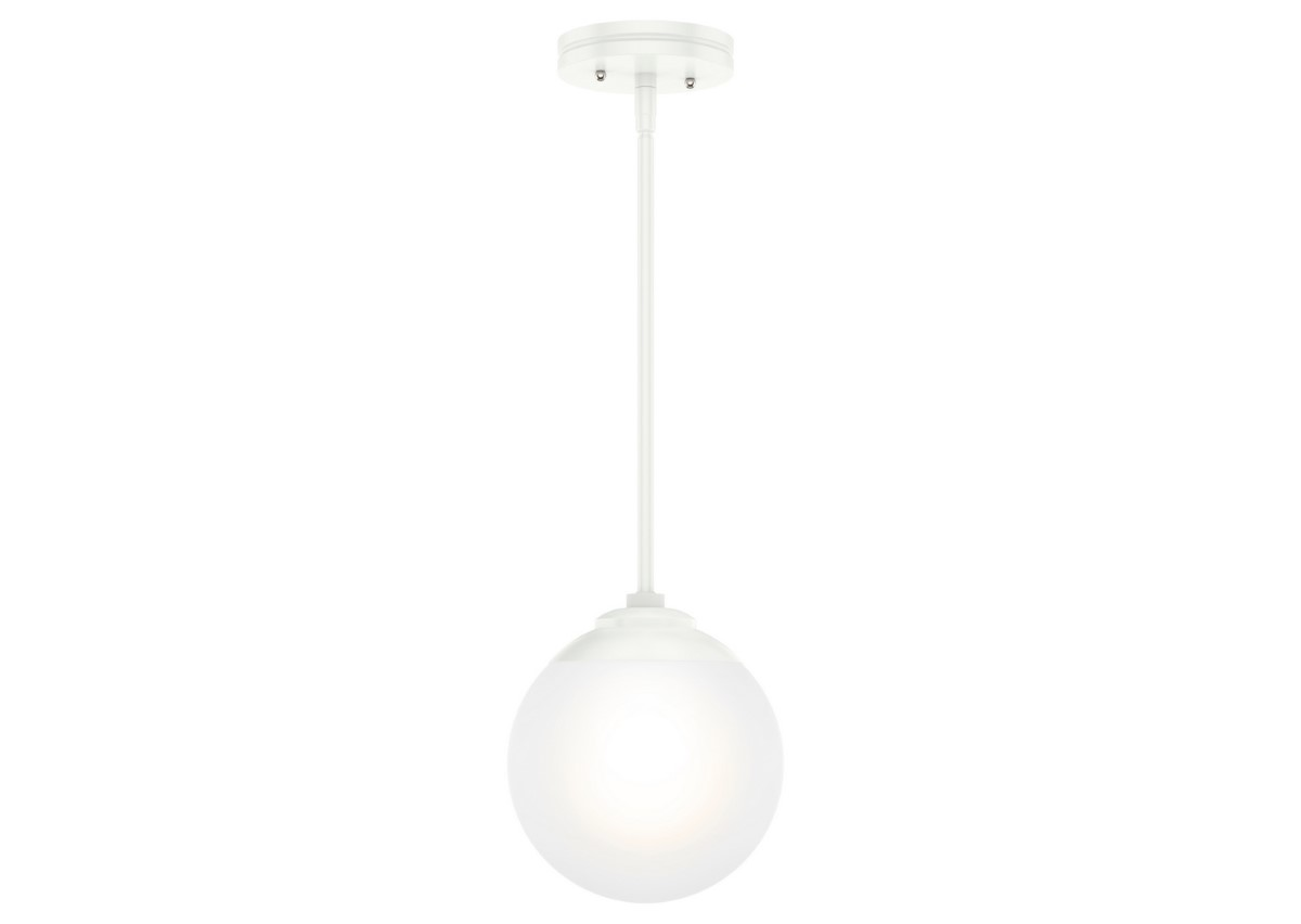 Hunter Hepburn Pendant Light with White Glass Shade - Matte White (19019)