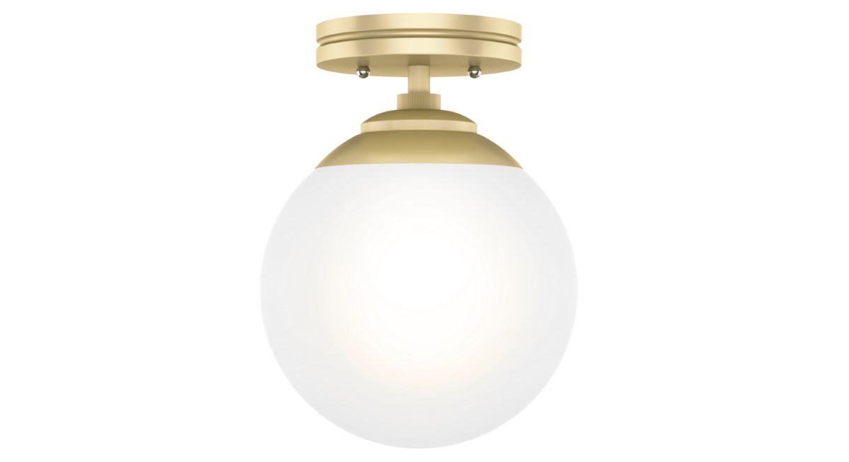 Hunter Hepburn Flush Light with White Glass Shade - Painted Modern Brass (19020)
