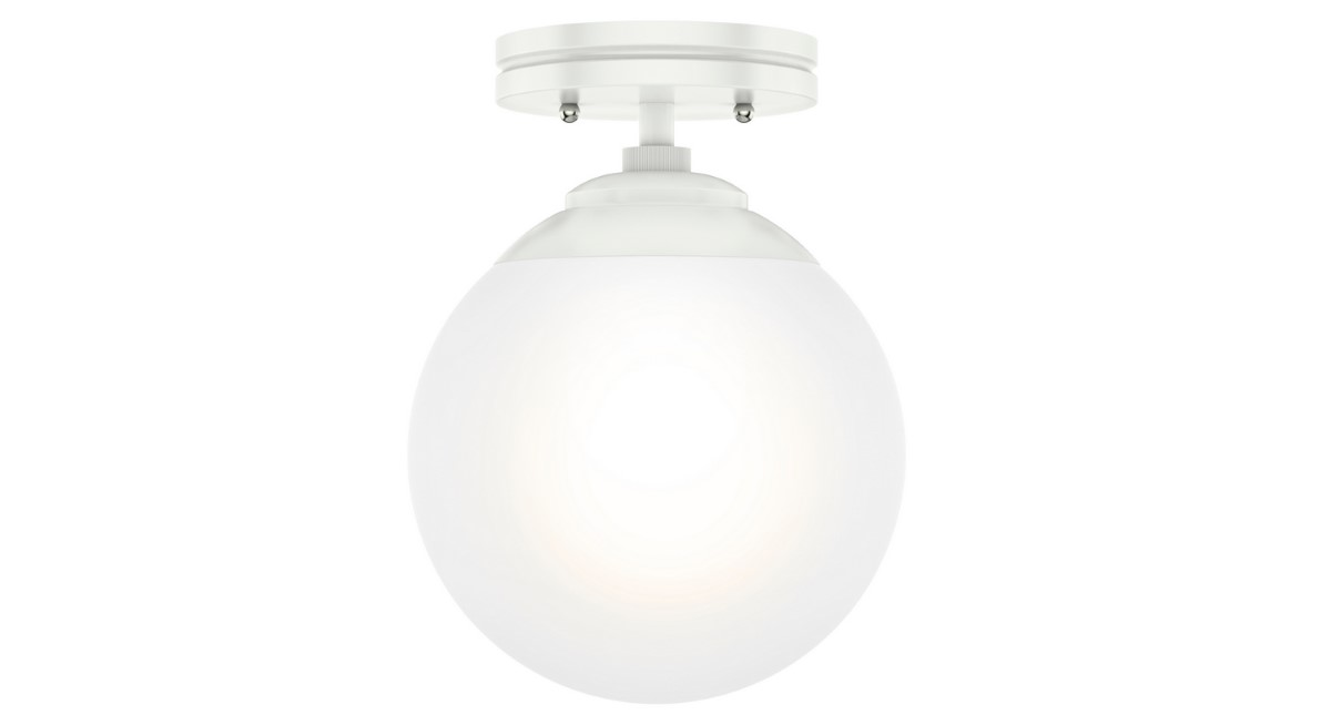 Hunter Hepburn Flush Light with White Glass Shade - Matte White (19021)