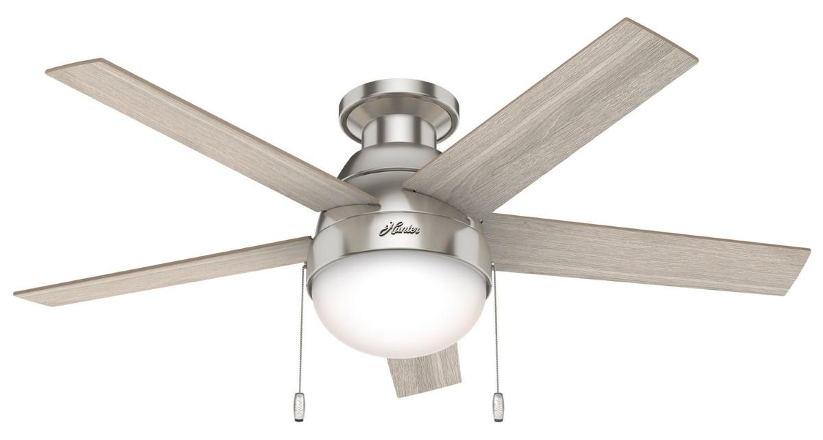 Hunter Anslee Low Profile Nickel Ceiling Fan