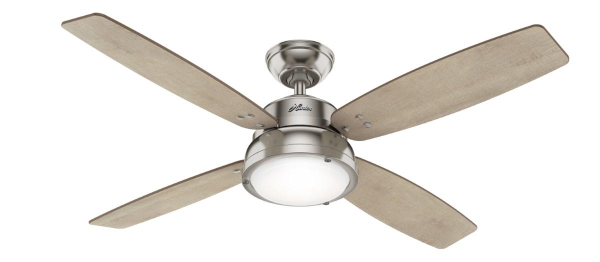 Hunter Wingate Nickel Ceiling Fan Light
