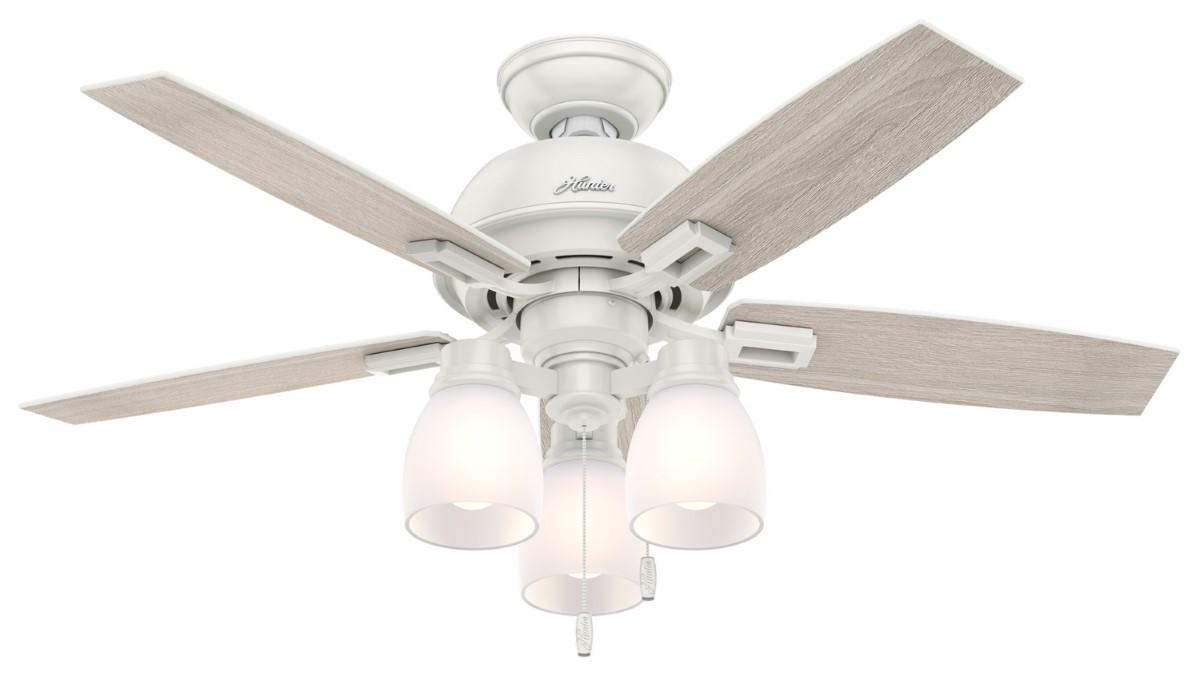 Hunter Donegan 44 White Ceiling Fan Oak Clear LED