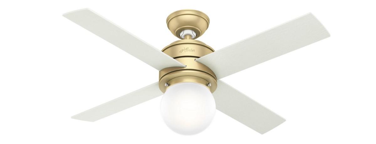 Hunter Hepburn 44 Brass Ceiling Fan LED Aged Oak