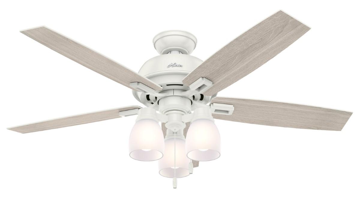 Hunter Donegan 52 White Ceiling Fan Oak Clear LED
