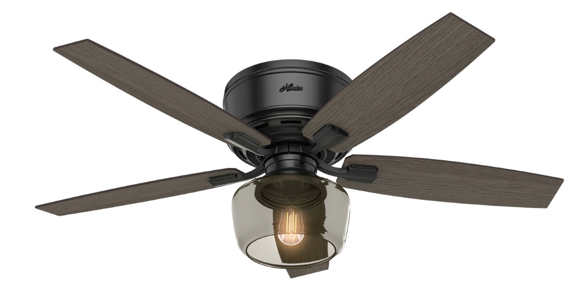 Hunter Bennett Low Profile Matte Black Ceiling Fan