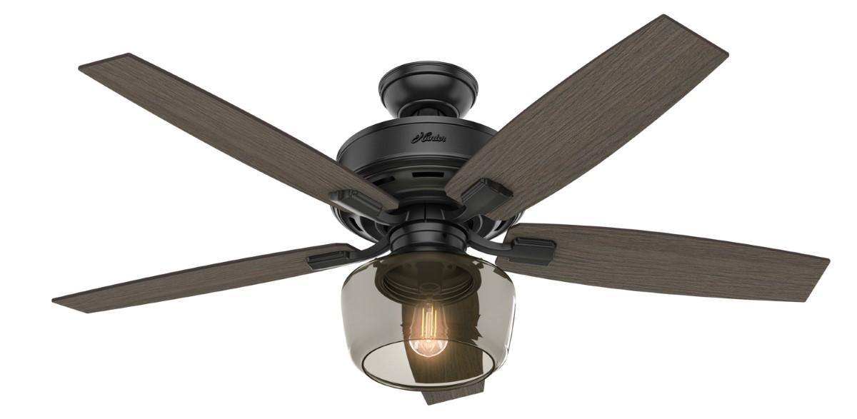 Hunter Bennett Matte Black Ceiling Fan LED