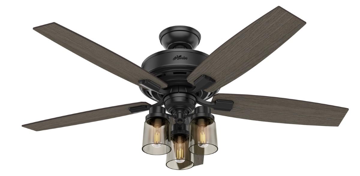 Hunter Bennett Matte Black Ceiling Fan 3 LED