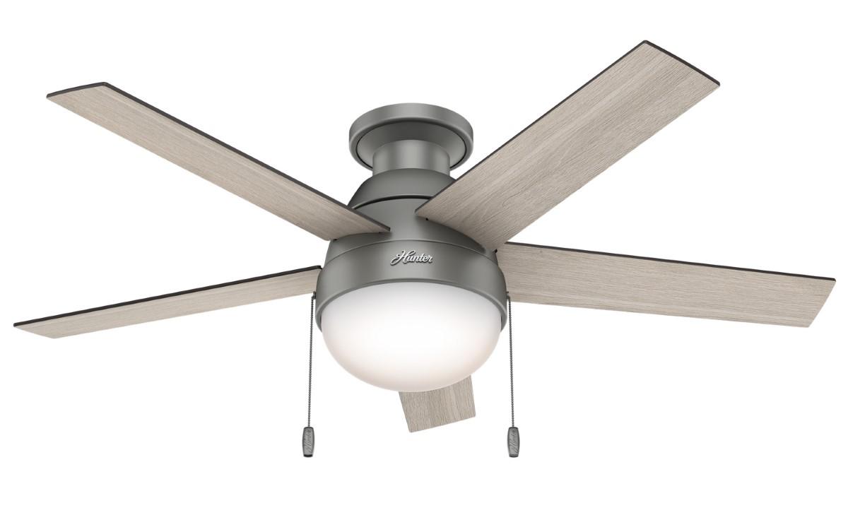 Hunter Anslee Low Profile Matte Silver Ceiling Fan