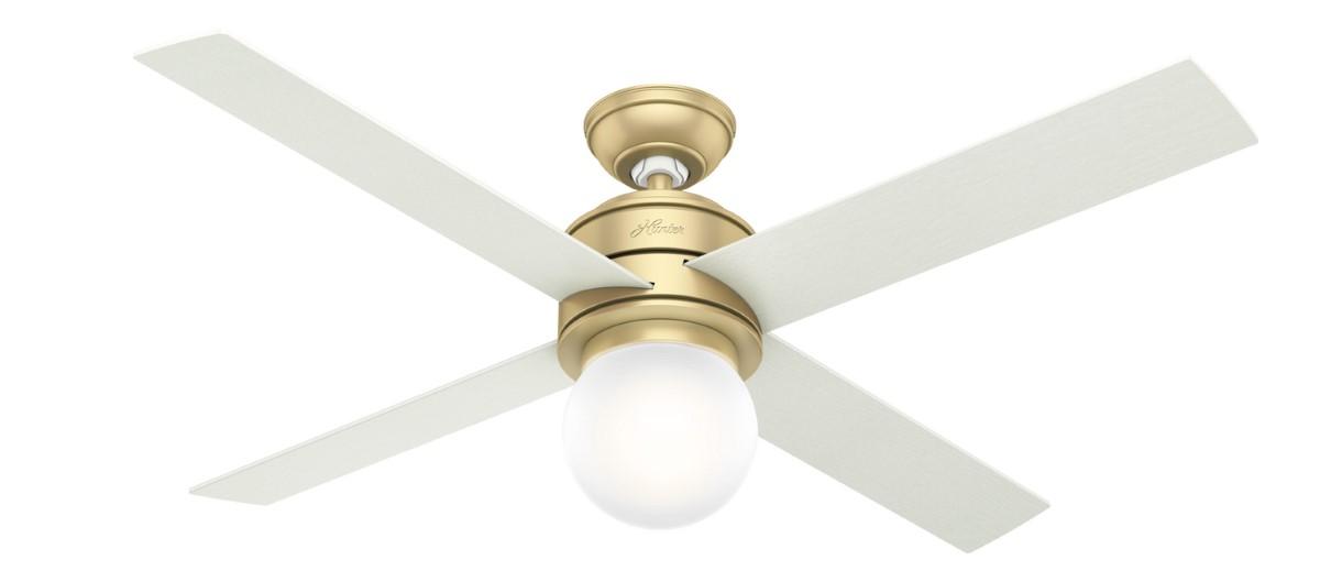 Hunter Hepburn 52 Brass Ceiling Fan LED Aged Oak
