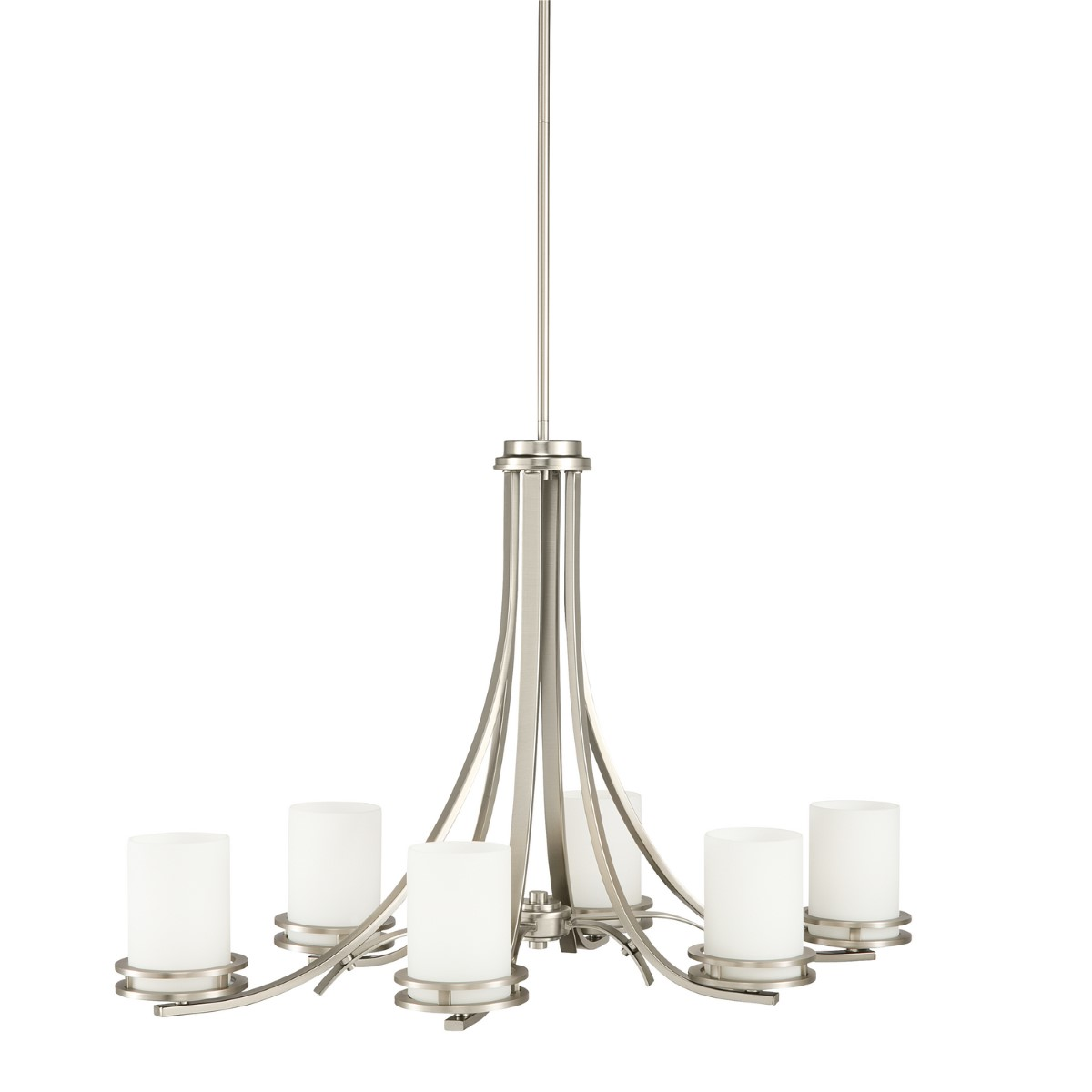 Kichler Hendrik Chandelier with Satin Etched Cased Opal Shade - Brushed Nickel (1673NI)