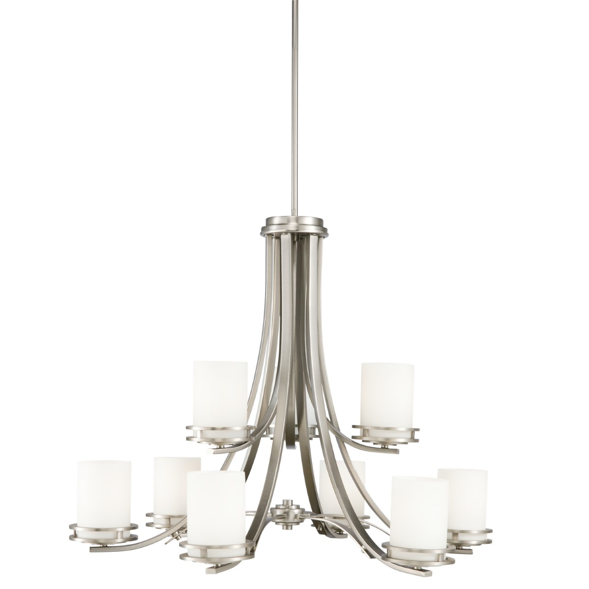 Kichler Hendrik Chandelier with Satin Etched Cased Opal Shade - Brushed Nickel (1674NI)