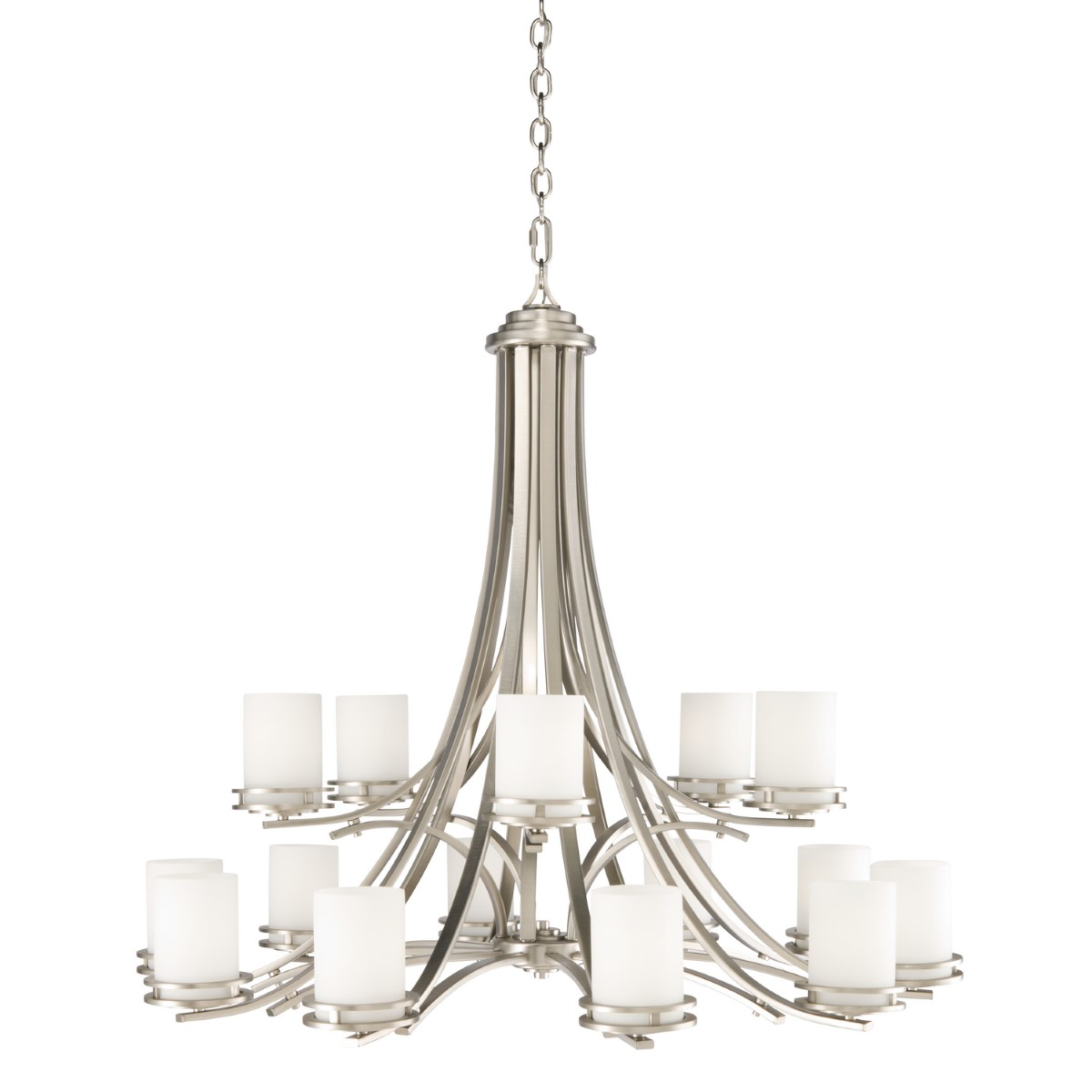 Kichler Hendrik Chandelier with Satin Etched Cased Opal Shade - Brushed Nickel (1675NI)
