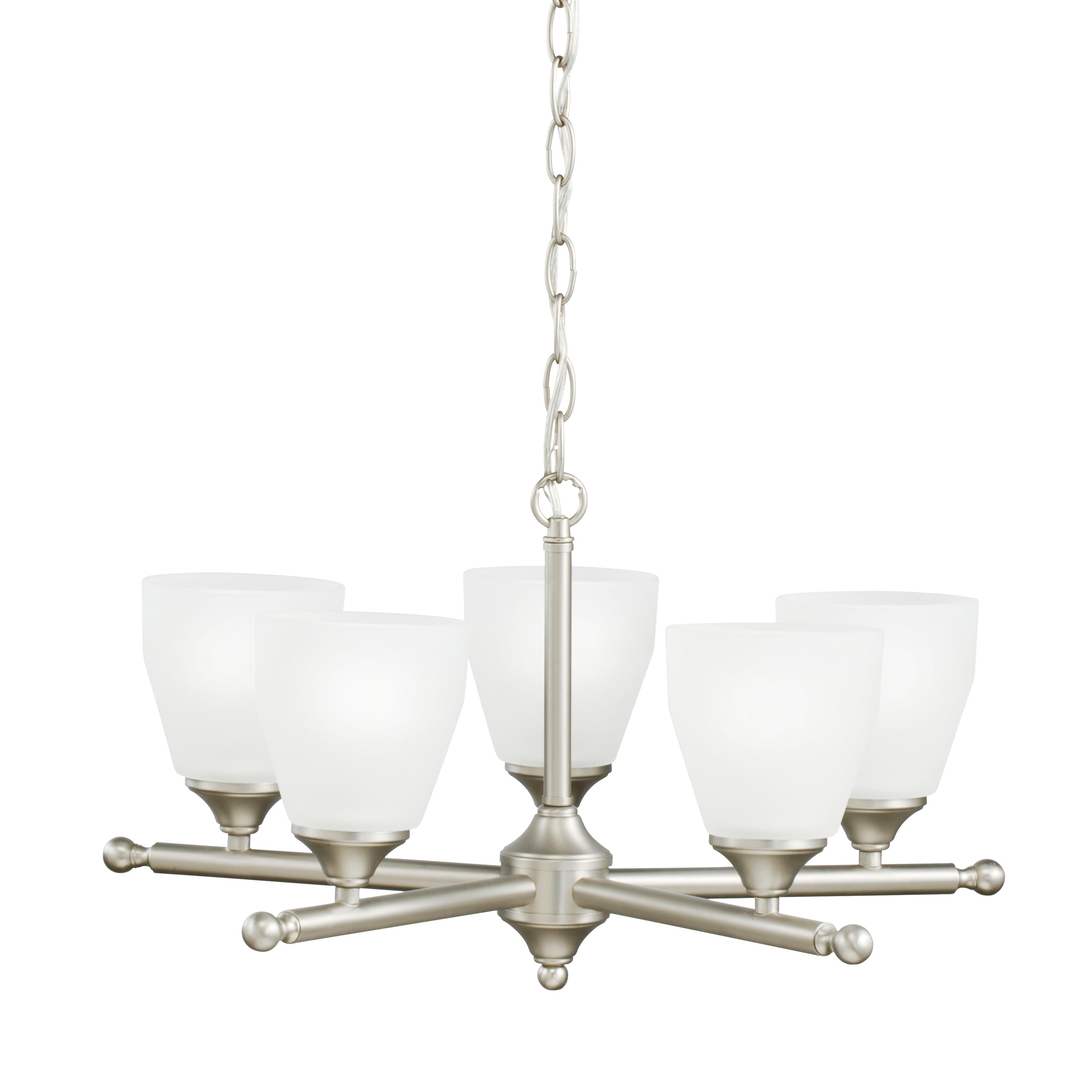 Kichler Ansonia Chandelier with Satin Etched Shade - Brushed Nickel (1748NI)
