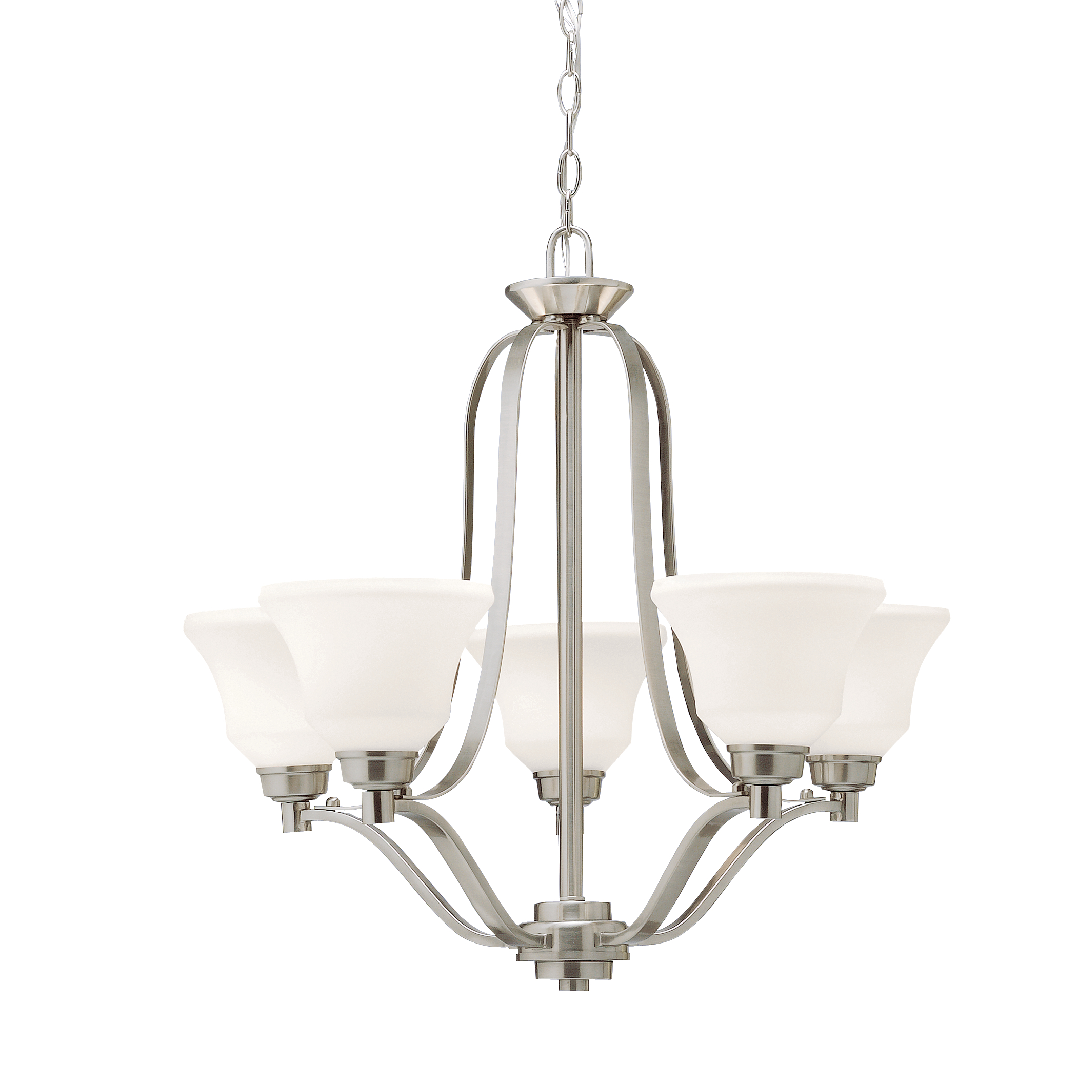 Kichler Langford LED Chandelier with White Etched White Shade - Brushed Nickel (1783NIL16)