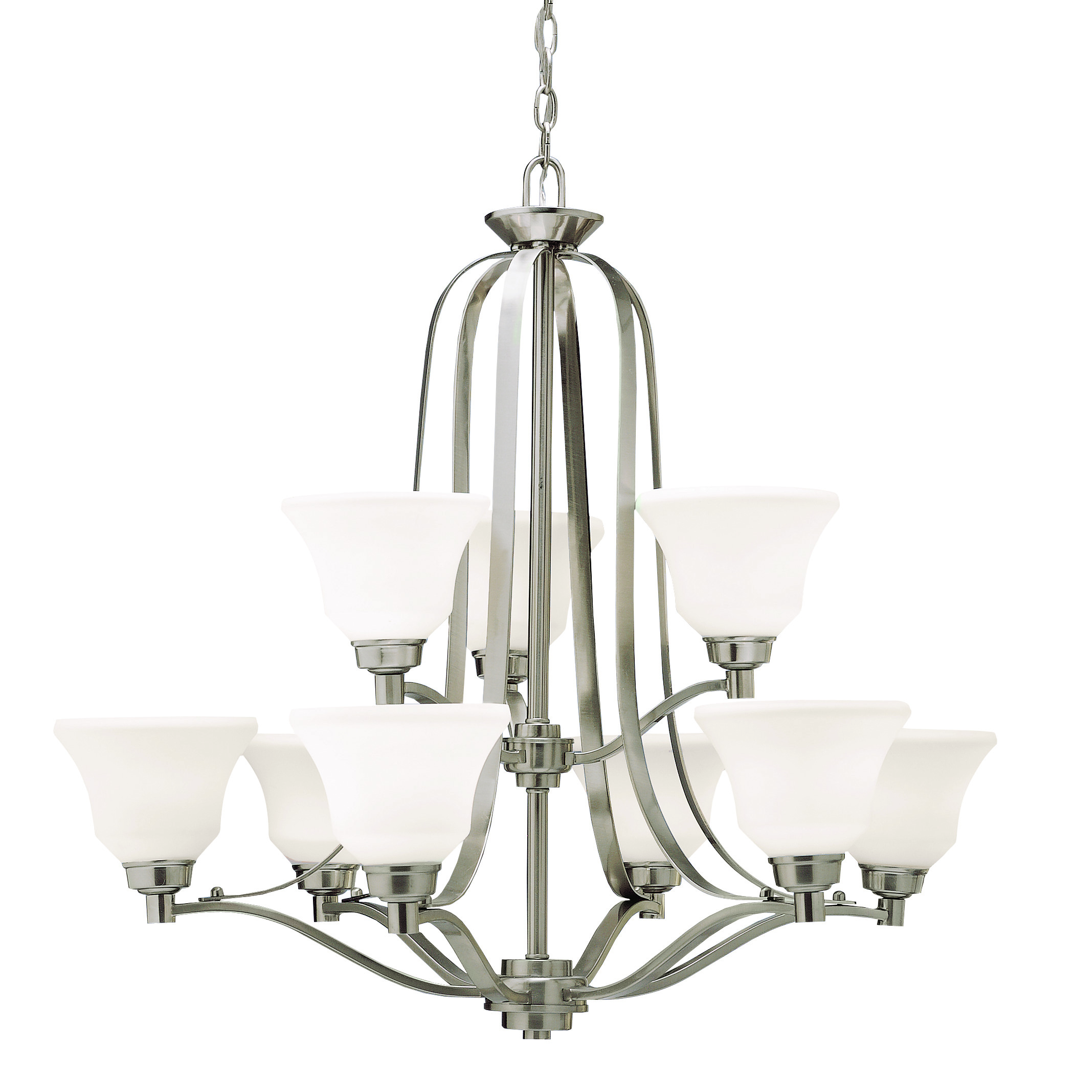Kichler Langford LED Chandelier with Satin Etched White Shade - Brushed Nickel (1784NIL16)