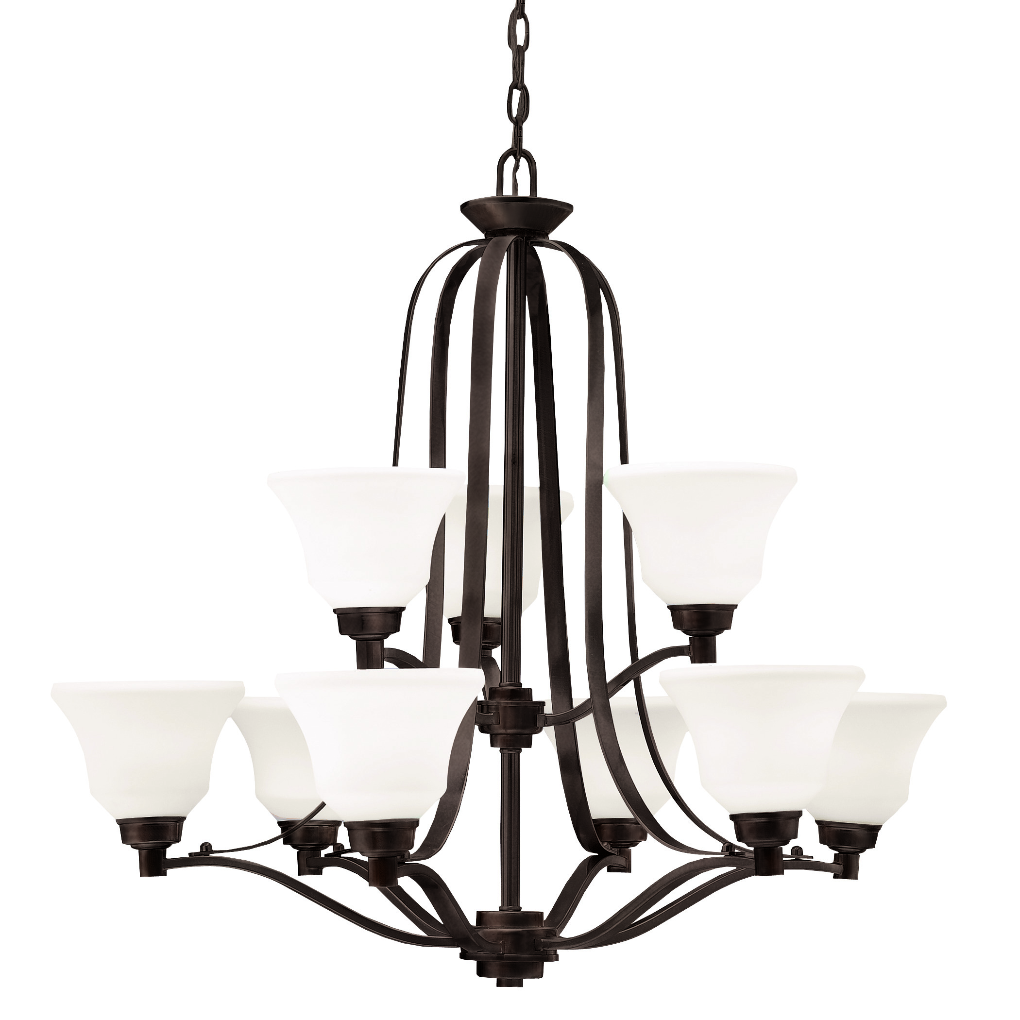 Kichler Langford LED Chandelier with Satin Etched White Shade - Olde Bronze (1784OZL16)