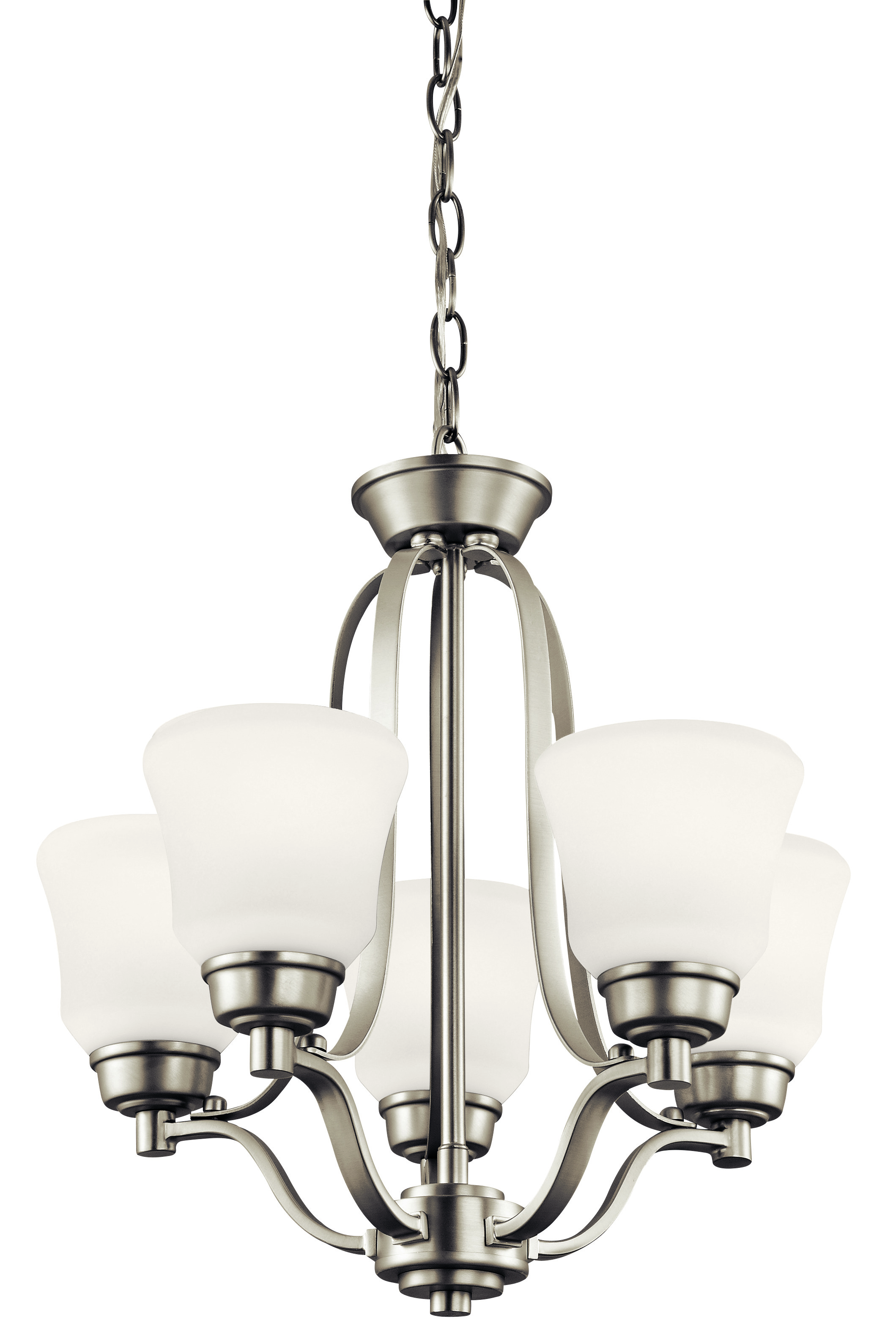 Kichler Langford LED Chandelier with Satin Etched White Shade - Brushed Nickel (1788NIL16)