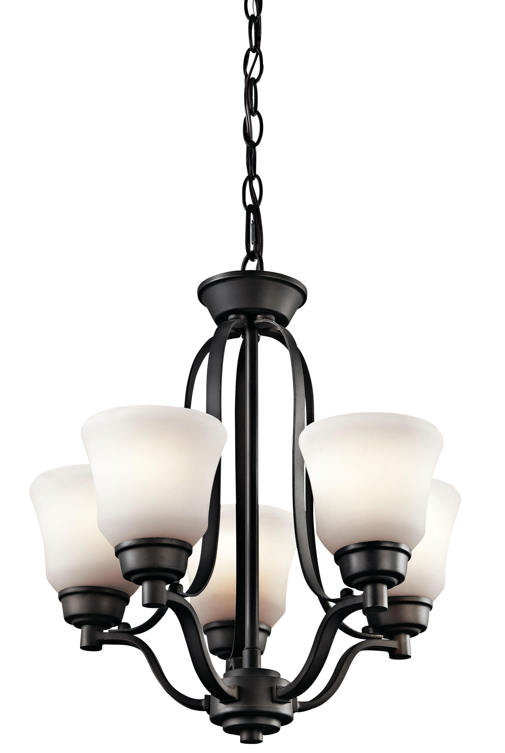 Kichler Langford LED Chandelier with Satin Etched White Shade - Olde Bronze (1788OZL16)