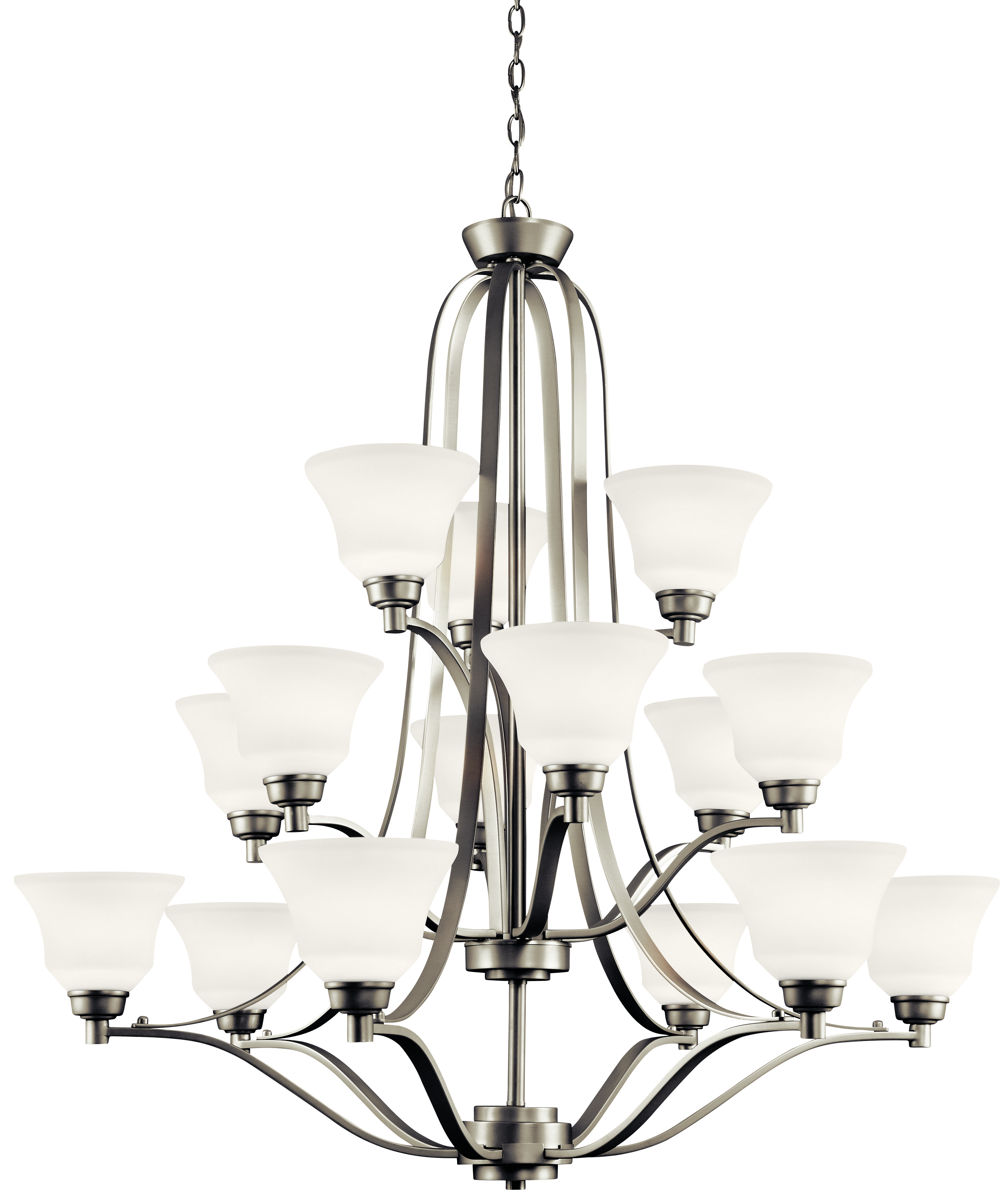 Kichler Langford LED Chandelier with Satin Etched White Shade - Brushed Nickel (1789NIL16)