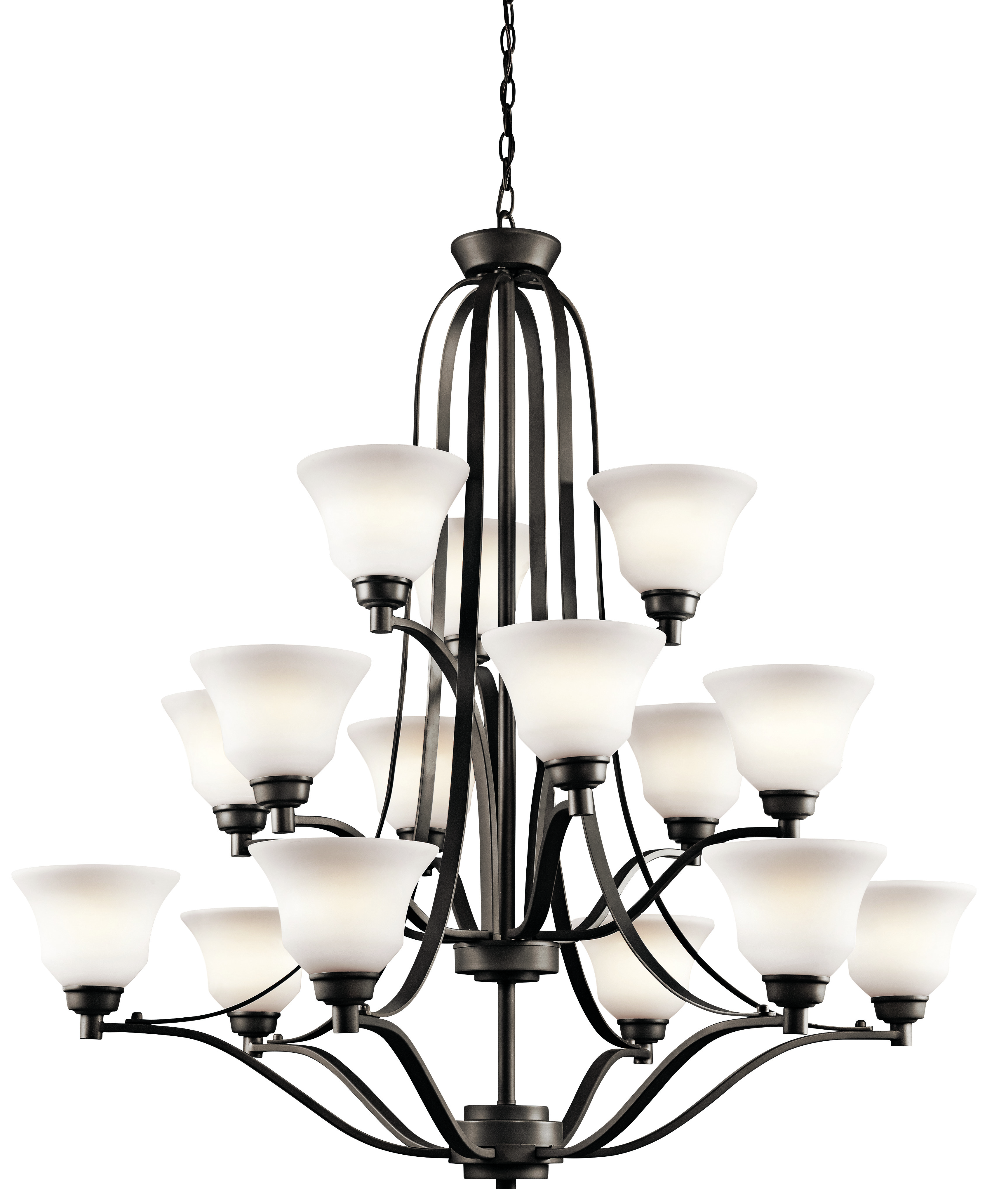 Kichler Langford LED Chandelier with Satin Etched White Shade - Olde Bronze (1789OZL16)