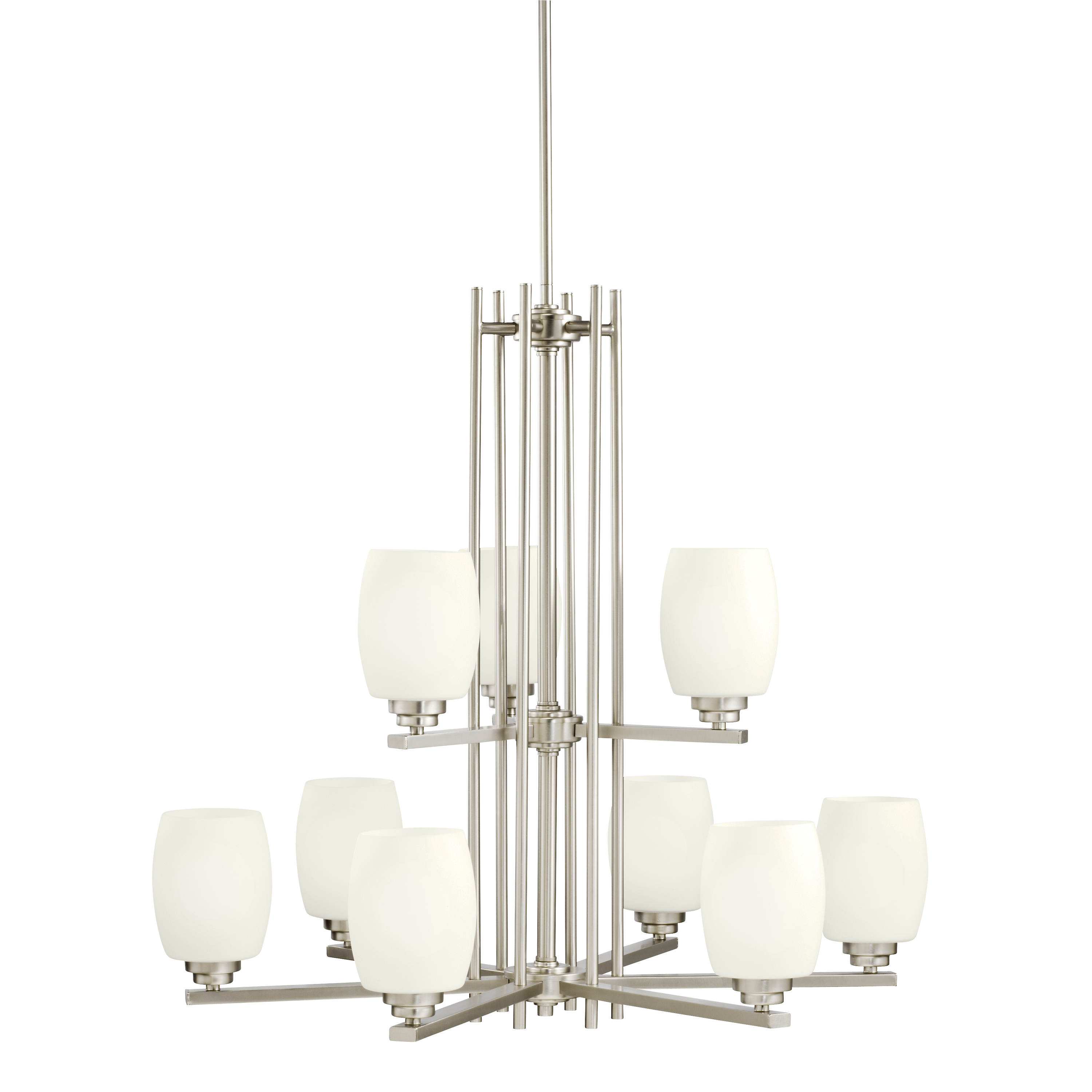 Kichler Eileen LED Chandelier with Satin Etched Cased Opal Shade - Brushed Nickel (1897NIL16)