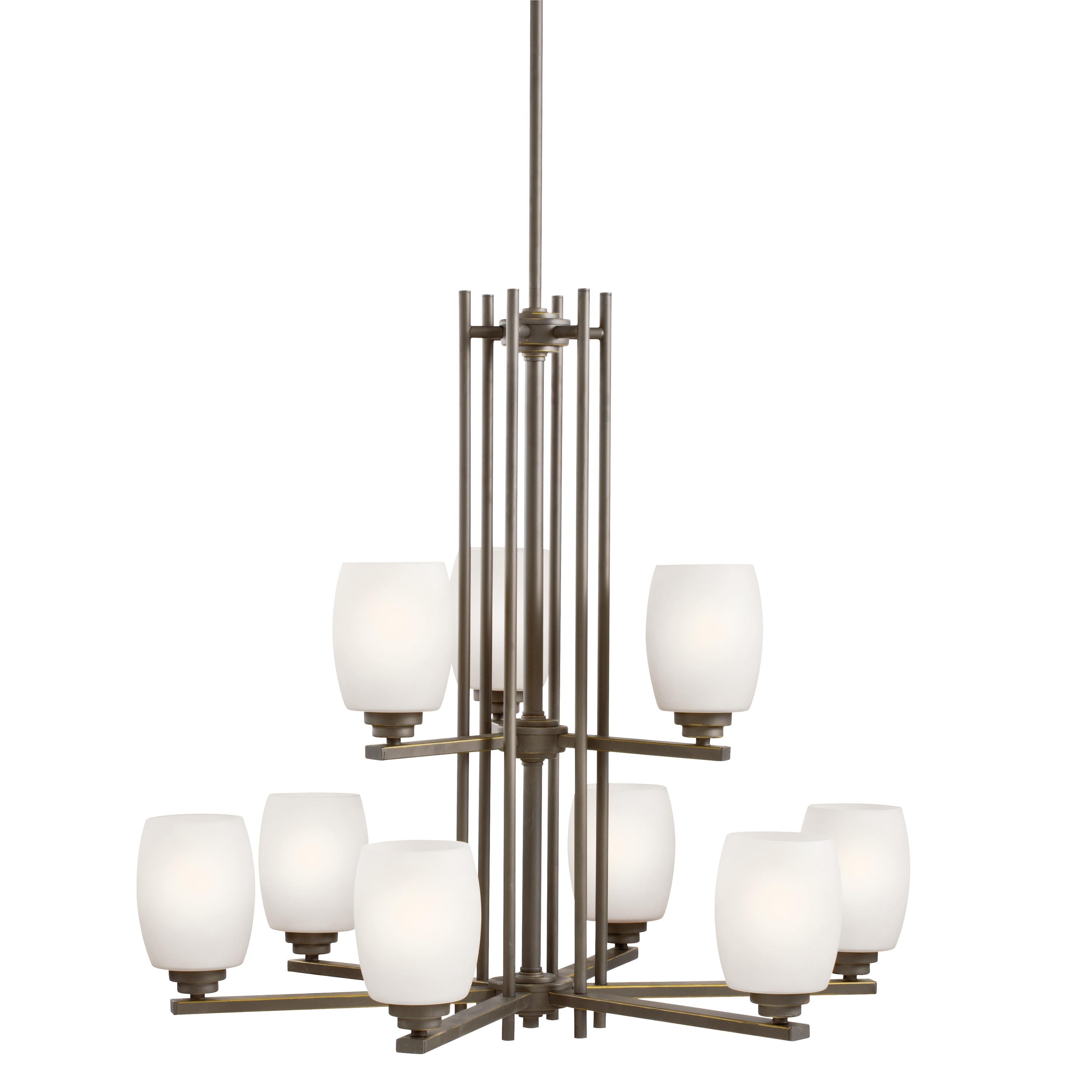 Kichler Eileen LED Chandelier with Satin Etched Cased Opal Shade - Olde Bronze (1897OZSL16)