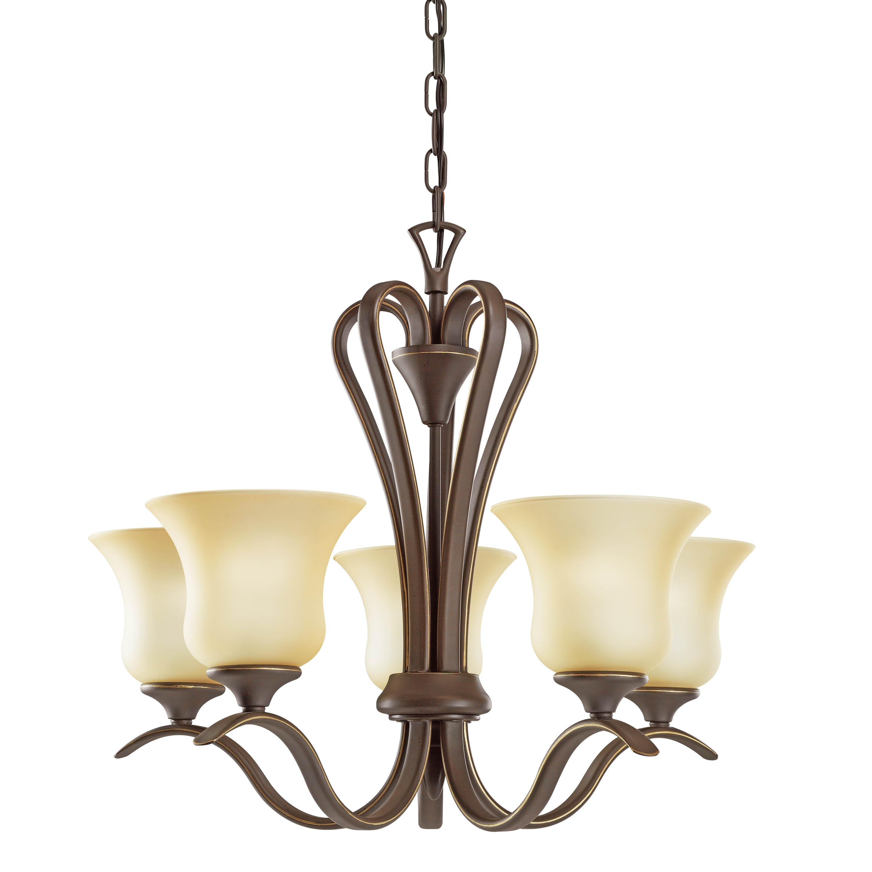 Kichler Wedgeport LED Chandelier with Umber Etched Shade - Olde Bronze (2085OZL16)