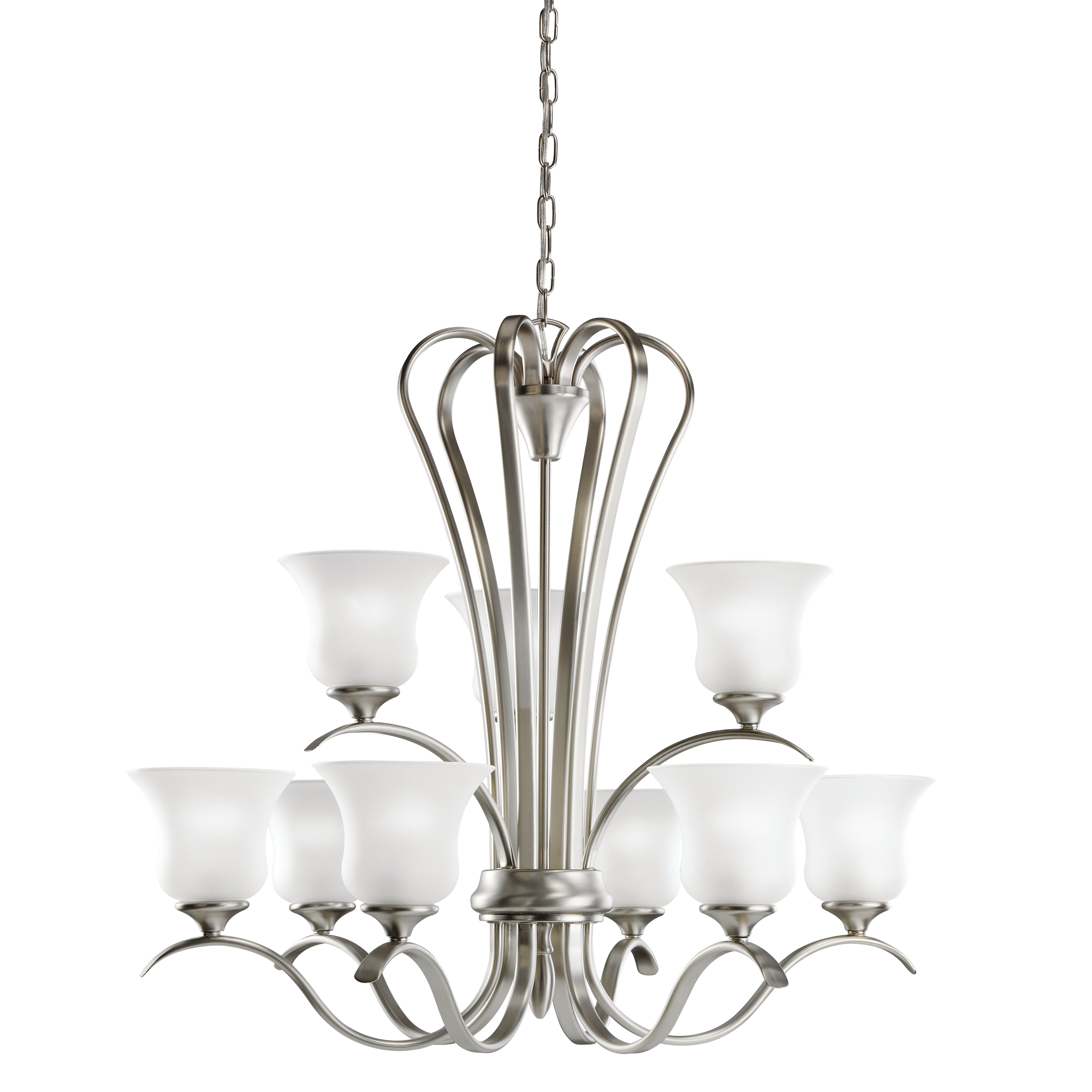 Kichler Wedgeport LED Chandelier with Satin Etched Shade - Brushed Nickel (2086NIL16)